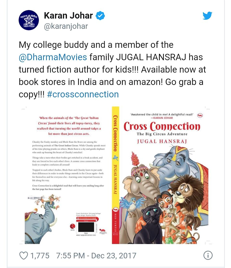 Back in 2017, he made inroads into the world of writing and presented his debut work, <em>Cross Connection</em>. It's amazing how Karan Johar readily comes to help his friends everytime; keeping with his known generosity, very graciously, he promoted Jugal's book by introducing it to his followers on social media.
