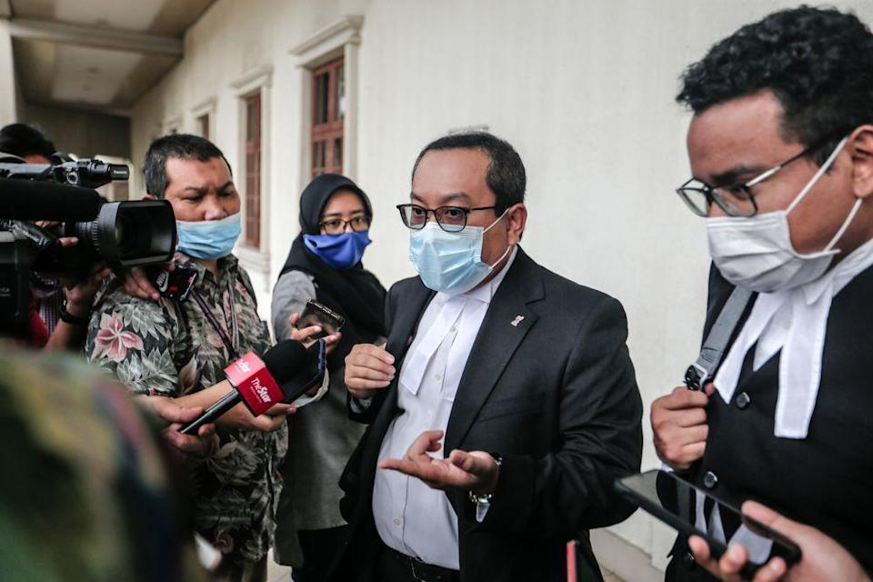 Lawyer Budiman Lutfi Mohamed addresses reporters at the Kuala Lumpur High Court July 14, 2020. — Picture by Firdaus Latif