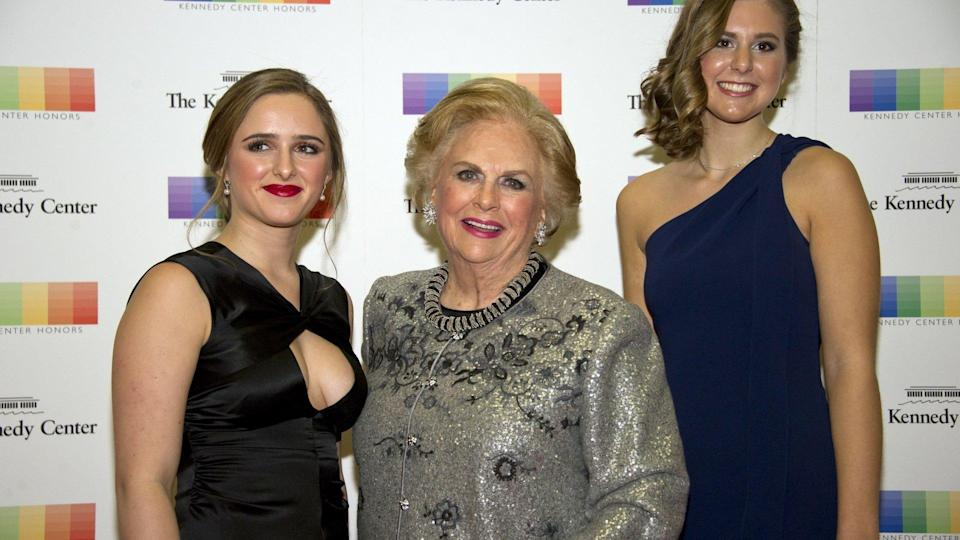 Mandatory Credit: Photo by Ron Sachs/Pool/EPA-EFE/Shutterstock (9254508af)Jacqueline MarsArrivals - 2017 Kennedy Center Honors Formal Artist's Dinner, Washington, USA - 02 Dec 2017US business magnate Jacqueline Mars (C) and her granddaughters, Graysen Airth (L) and Katherine Burgstahler (R) arrive for the formal Artist's Dinner honoring the recipients of the 40th Annual Kennedy Center Honors hosted by United States Secretary of State Rex Tillerson at the US Department of State in Washington, DC, USA, 02 December 2017.