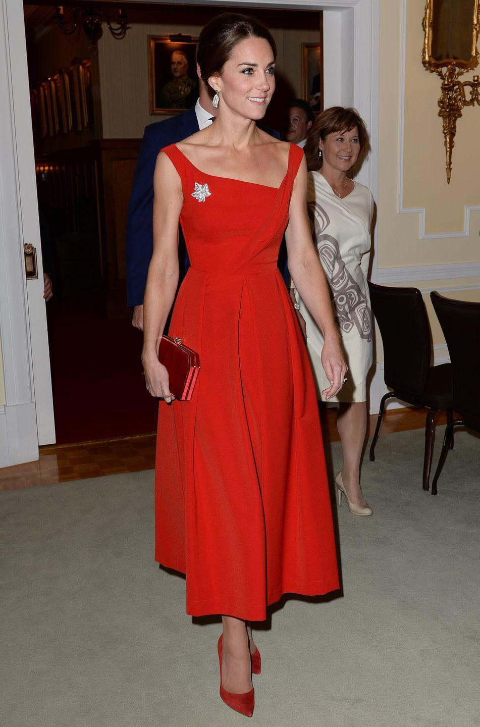 <p>As you may have noticed by now, Kate and Meghan aren't afraid to rock bold hues. Example: Kate wore red while in Canada on an official visit in 2016, perhaps as an homage to their flag. </p>
