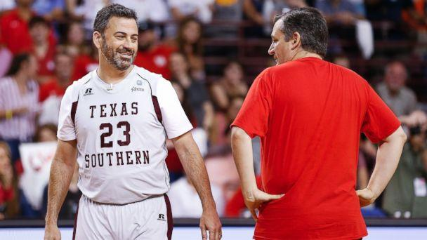 Jimmy Kimmel and Sen. Ted Cruz face off during the Blobfish Basketball Classic and one-on-one interview at Texas Southern University's Health & Physical Education Arena Saturday, June 16, 2018 in Houston. (AP)
