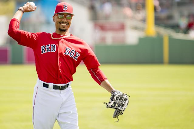 Mookie Betts during a Spring Training game on March 27, 2018. (Billie Weiss/Boston Red Sox)