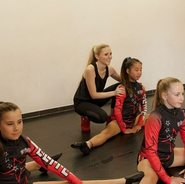 Nikki Webster with her students at her dance school