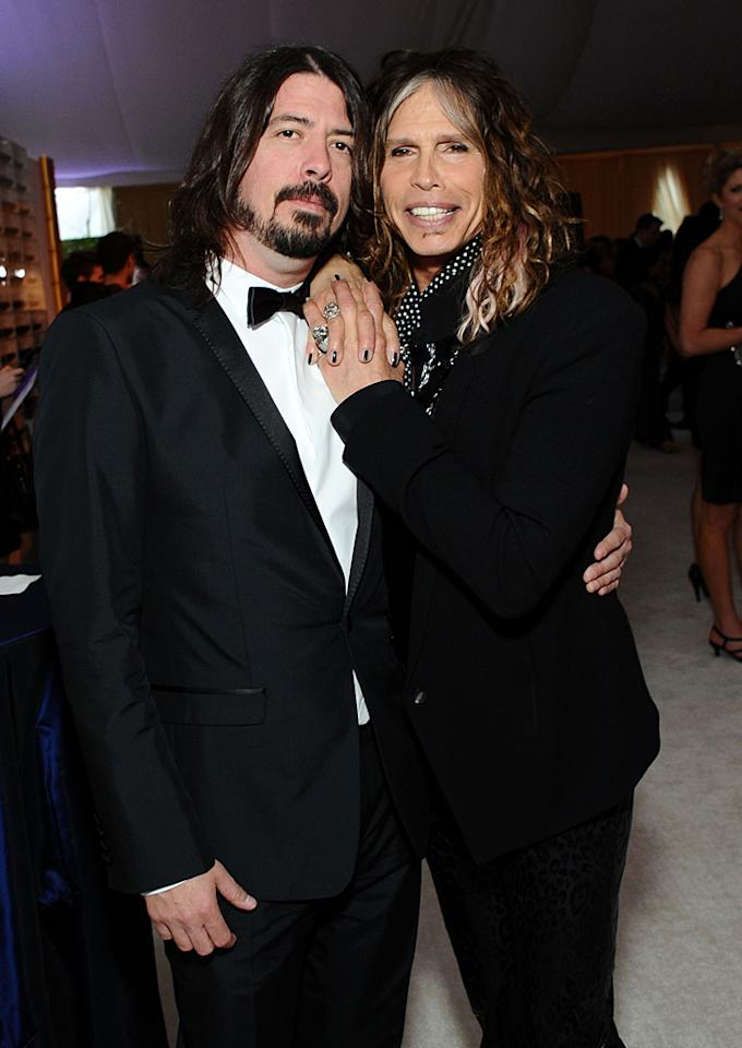 "Foo Fighter Dave Grohl and buddy Steven Tyler rocked out at the after parties. Maybe Grohl can cameo on ""Idol"" this season?<br>"