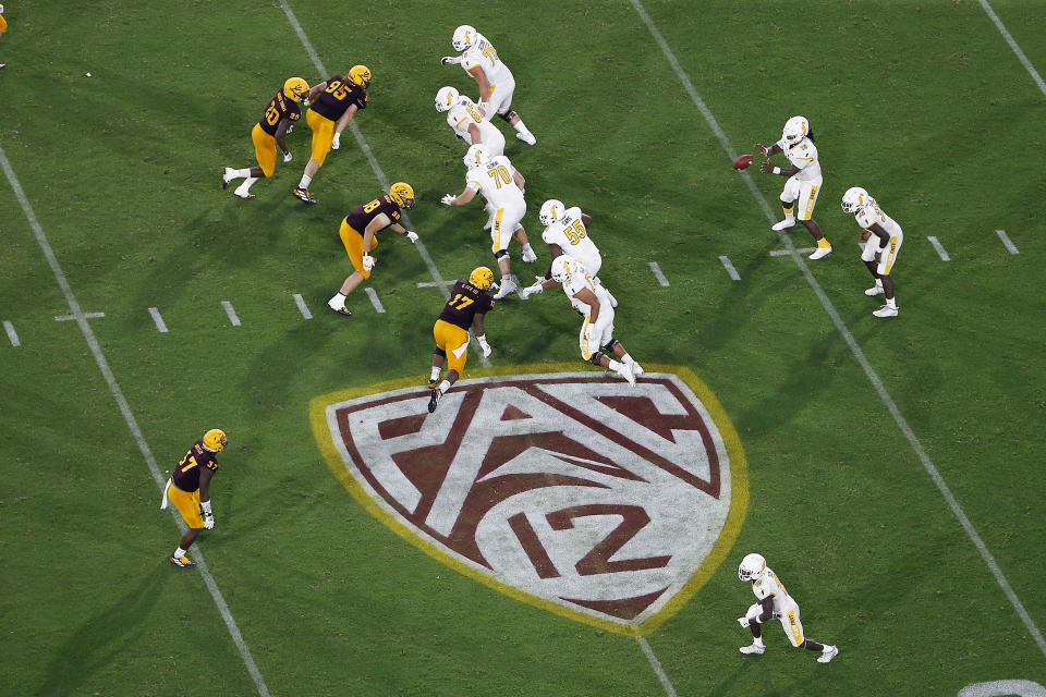The Pac-12 logo during the second half of a game between Arizona State and Kent State, in Tempe, Ariz.