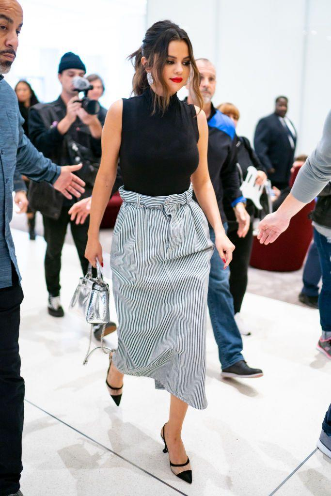 <p>The songstress looked sleek in a pencil skirt whilst out-and-about in New York, October 2019.</p>