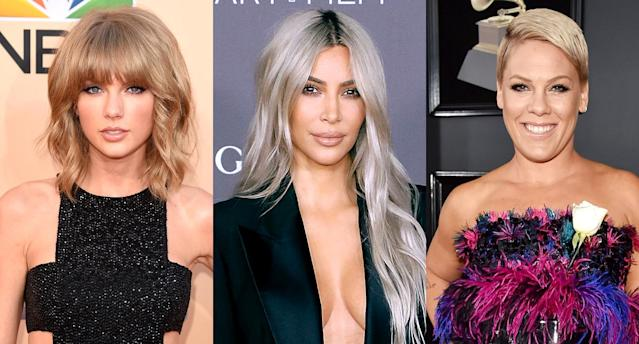 Taylor Swift, left, Kim Kardashian, and P!nk. (Photo: Getty Images)