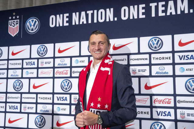 Vlatko Andonovski poses for photographers during a news conference Monday, Oct. 28, 2019, in New York. U.S. Soccer president Carlos Cordeiro named Andonovski as head coach in U.S. Women's National Team on Monday. (AP Photo/Mary Altaffer)