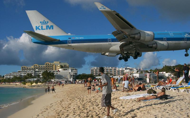 A jet, not the one involved in the incident, lands at Princess Juliana Airport - GETTY