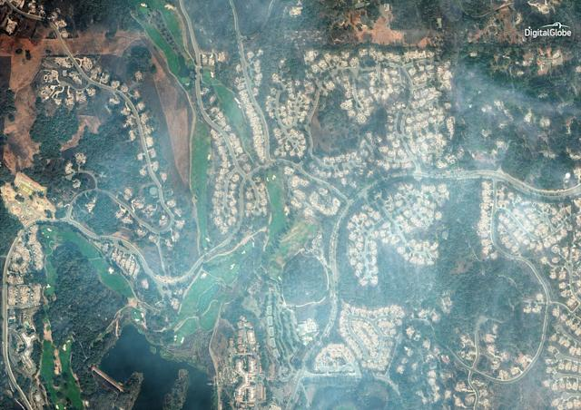 A natural-color satellite image of the burned Fountaingrove Golf Club in Santa Rosa, a city in Sonoma County.