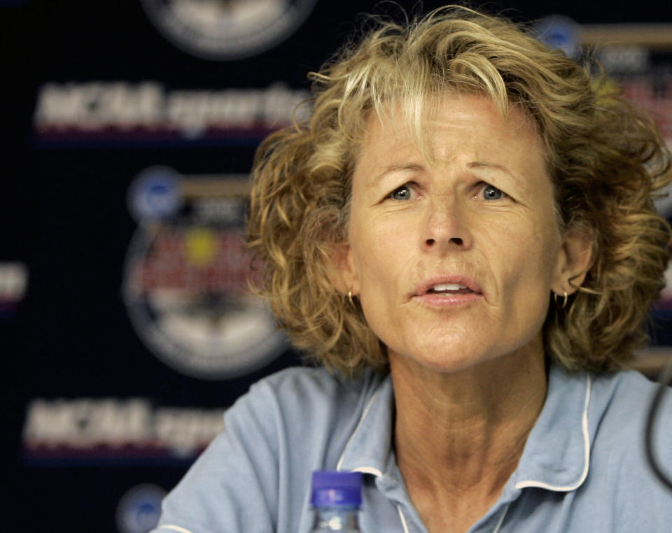 FILE - In this May 31, 2006, file photo, UCLA softball coach Sue Enquist attends a news conference in Oklahoma City. Enquist helped facilitate virtual meetings during the pandemic for the U.S. women's volleyball team that the players credit for improving their culture, relationships and teamwork. (AP Photo/File)