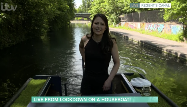 Nicola Thorp appeared on This Morning live from Nora the narrowboat. (ITV)
