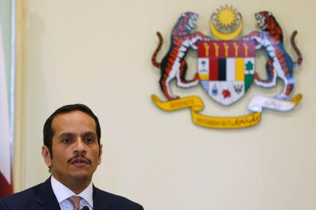 Qatar's Foreign Minister Sheikh Mohammed bin Abdulrahman bin Jassim Al-Thani speaks during a joint news conference with Malaysia's Foreign Minister Saifuddin Abdullah at the Prime Minister's Office in Putrajaya, Malaysia December 6, 2018. REUTERS/Lai Seng Sin