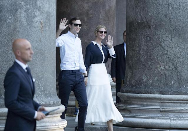 <p>Ivanka Trump and her husband Jared Kushner wore coordinating looks while taking a private tour of the Pantheon in Rome, Italy on Wednesday, May 24, 2017. (Photo: PERCOSSI/EPA/REX/Shutterstock) </p>
