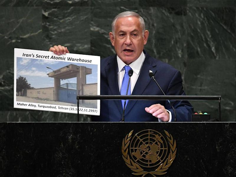 Evidence of a secret atomic warehouse in Tehran is presented by Israeli prime minister Benjamin Netanyahu (Timothy Clary/AFP/Getty)