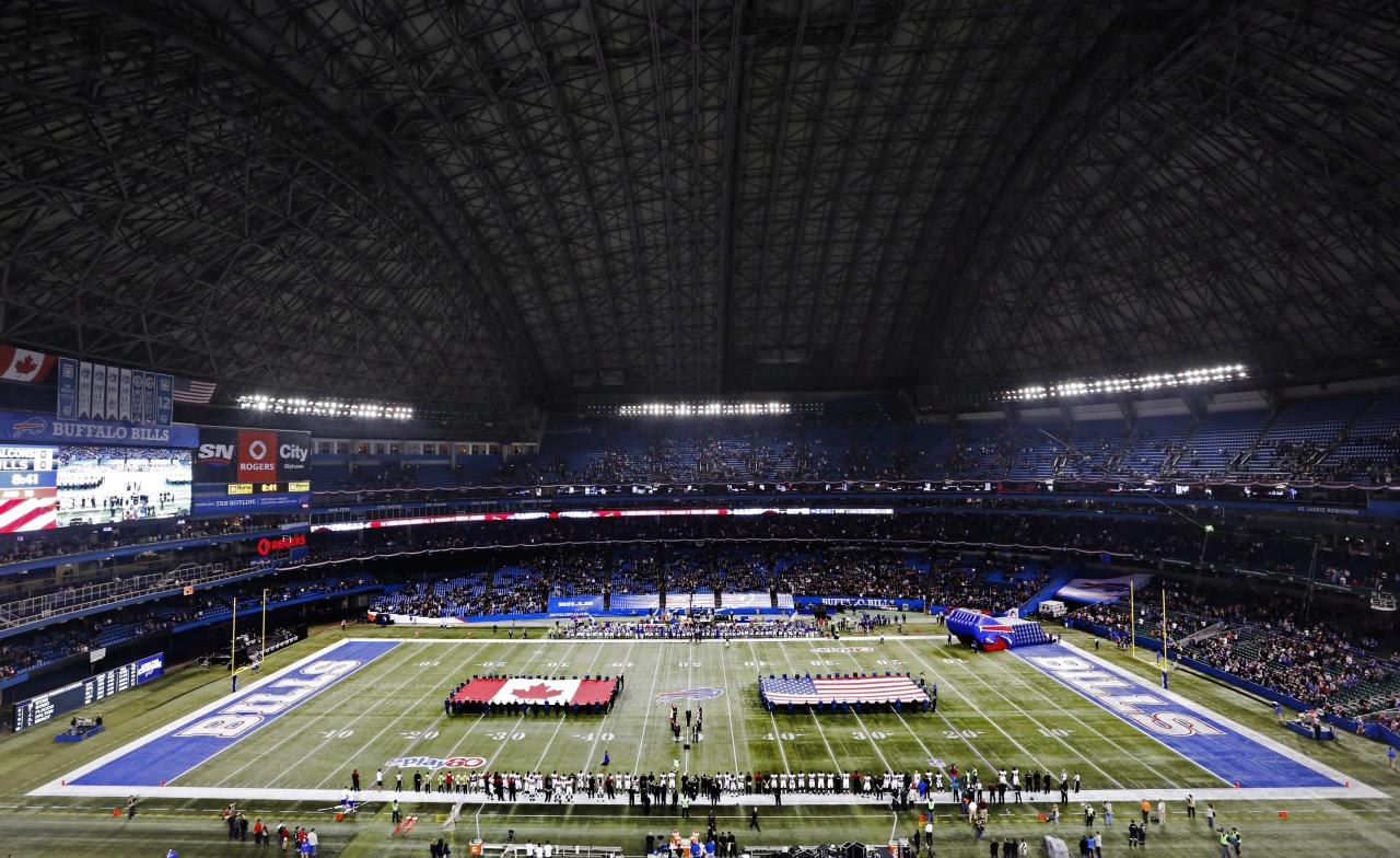The national anthems of the United States and Canada are played before the Buffalo Bills against the Atlanta Falcons in an NFL football game at Rogers Centre in Toronto, Sunday, Dec. 1, 2013. (AP Photo/The Canadian Press, Mark Blinch)