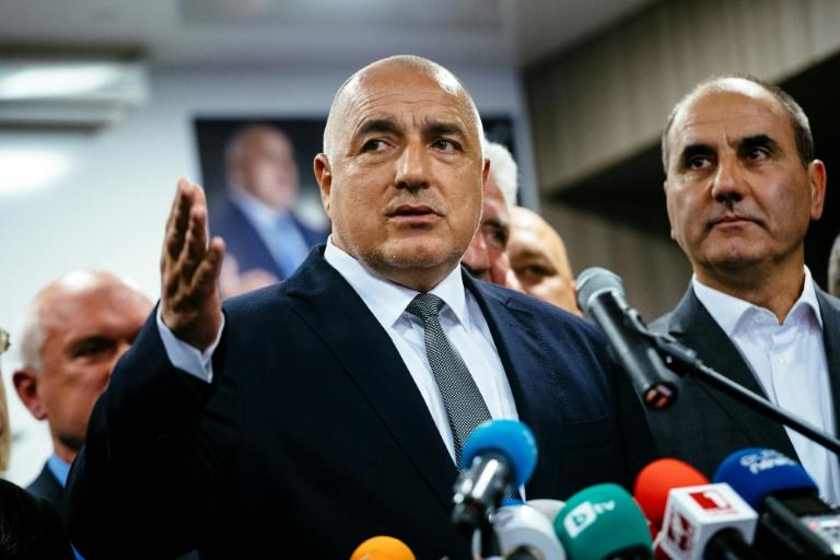 Head of the centre-right GERB party and former prime minister Boyko Borisov speaks to media in Sofia on March 26, 2017, after his party won the country's parliamentary election