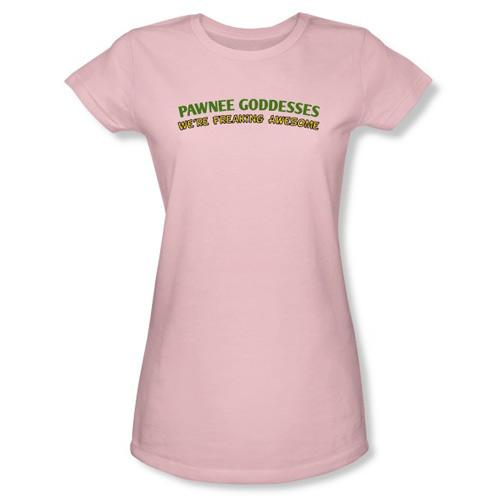"""<a href=""""http://www.nbcuniversalstore.com/parks-and-recreation-pawnee-goddesses-junior-t-shirt/detail.php?p=362551&v=nbc_parks-and-recreation"""" target=""""_blank"""" rel=""""nofollow"""">Pawnee Goddesses T-Shirt</a> ($26) — Do you know a """"<a href=""""/parks-recreation/show/42828"""">Parks and Recreation</a>"""" fan who is freaking awesome? Yeah, we thought you might. If you do, grab her this adorable fitted T-shirt. Badges are, sadly, not included."""
