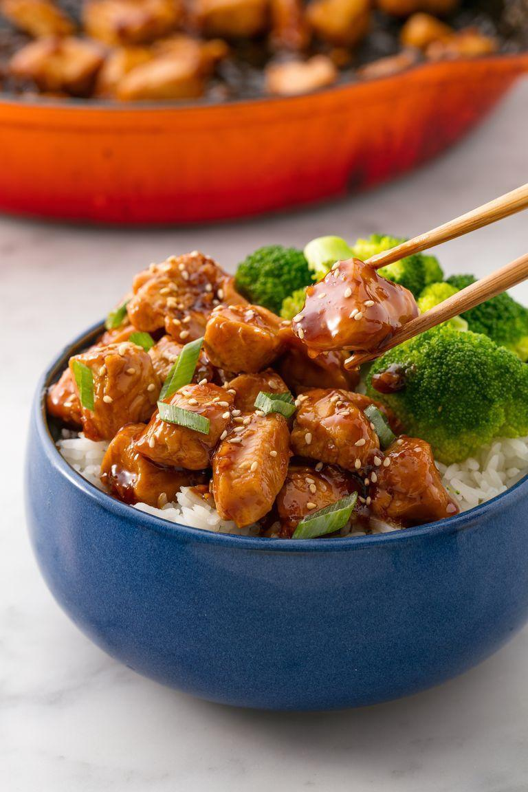 """<p>A little salty, a little sweet, a little sour, and just the tiniest hint of spice from crushed ginger: This chicken teriyaki is exactly what you'd want for dinner after a long day at work. Serve it up with a side of steamed rice and broccoli and make your mum proud that you're finally eating balanced, proper meals. We use chicken breasts here for ease, but you can substitute with any other type of protein: dark meat, pork, beef, or tofu. The best part? It takes just about half an hour to make.</p><p>Get the <a href=""""https://www.delish.com/uk/cooking/recipes/a28886065/easy-teriyaki-chicken-recipe/"""" rel=""""nofollow noopener"""" target=""""_blank"""" data-ylk=""""slk:Chicken Teriyaki"""" class=""""link rapid-noclick-resp"""">Chicken Teriyaki</a> recipe.</p>"""