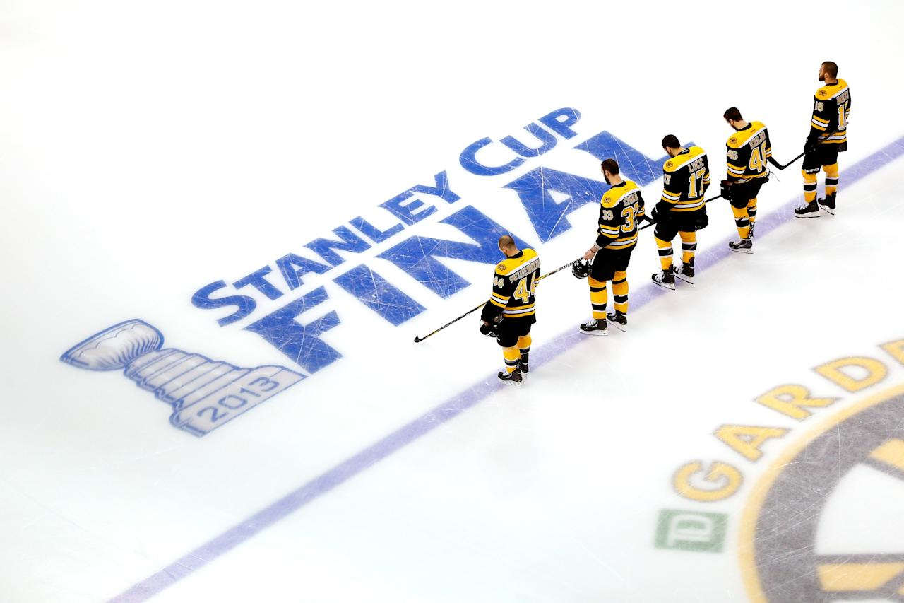 BOSTON, MA - JUNE 19: The Boston Bruins line up during the National Anthem for Game Four of the 2013 NHL Stanley Cup Final against the Chicago Blackhawks at TD Garden on June 19, 2013 in Boston, Massachusetts. (Photo by Jim Rogash/Getty Images)