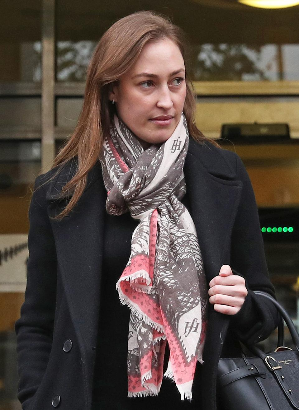 """Tatiana Mountbatten leaves Lavender Hill Magistrates' Court in Battersea, London, after being banned from driving for speeding three times in 10 days despite claiming it would place """"significant hardship"""" on her and her business."""
