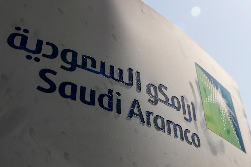 Saudi Aramco logo is pictured at the oil facility in Khurais, Saudi Arabia October 12, 2019. REUTERS/Maxim Shemetov