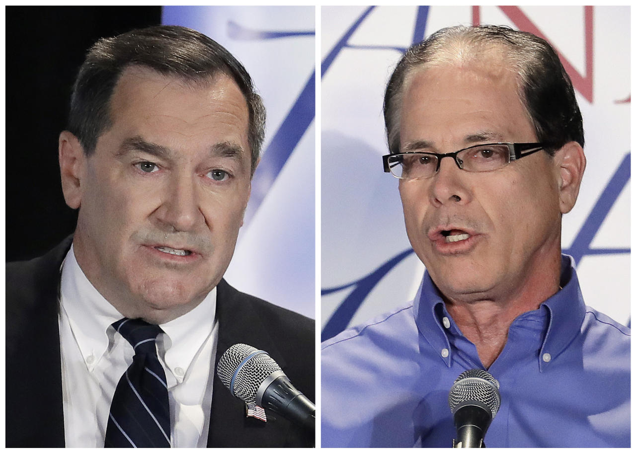 FILE - This combination of Oct. 8, 2018, file photos show Indiana U.S. Senate candidates, Democratic Sen. Joe Donnelly, left, and former Republican state Rep. Mike Braun during a debate in Westville, Ind. Braun supports the GOP lawsuit to repeal former President Barack Obama's health care overhaul while also saying Republicans should support legislation that protects pre-existing coverage. That made for a pointed moment in a recent debate. (AP Photo/Darron Cummings, File)