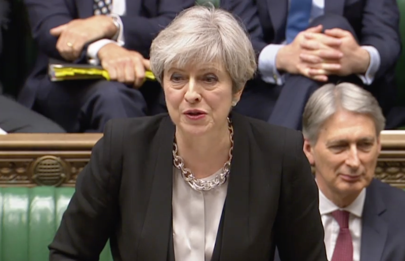 Theresa May bravely faces down the insubordinate commons as it agreed to her election by 522 votes to 13: House of Commons