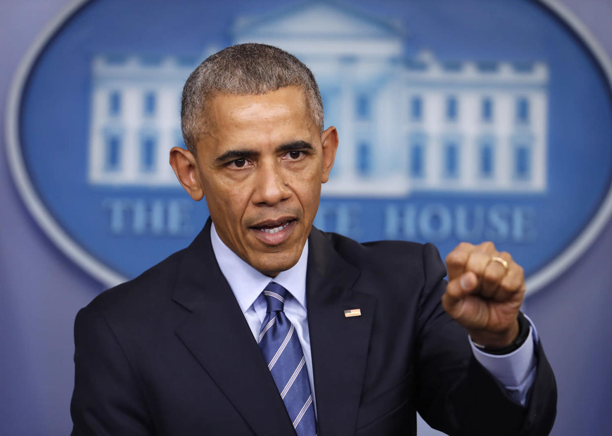 President Obama at a news conference in the Briefing Room of the White House, Dec. 16. (AP Photo/Pablo Martinez Monsivais)