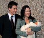 <p>October 2005: New parents Mary and Frederik welcome their first child, Prince Christian. Photo: Getty Images.</p>