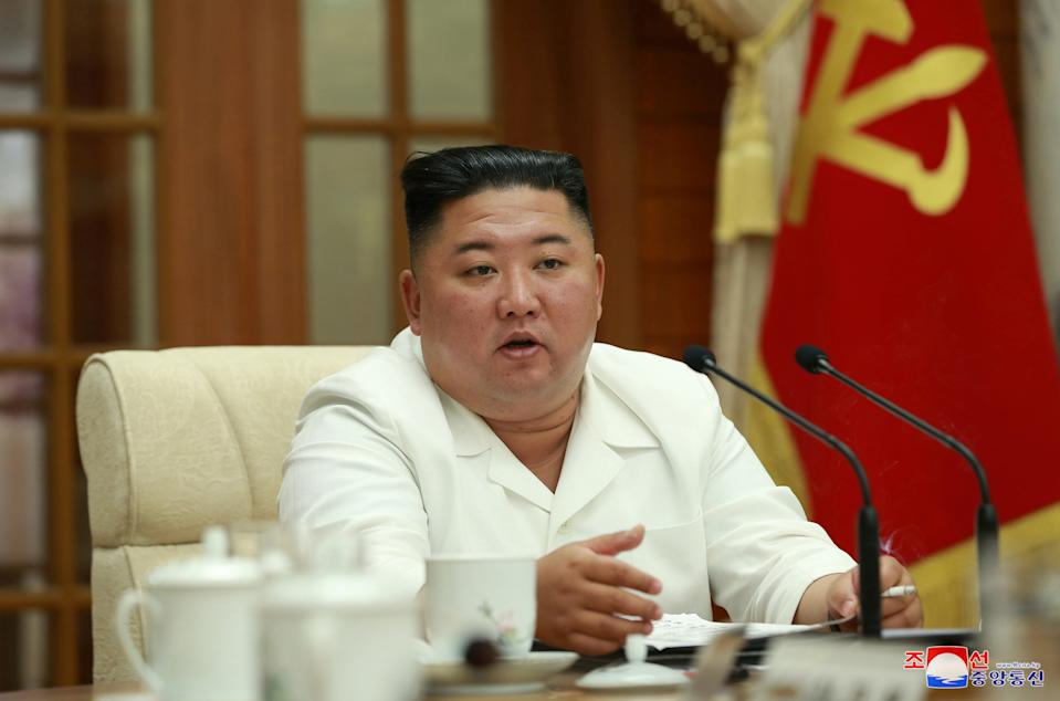 North Korean leader Kim Jong Un attends an enlarged meeting of the Political Bureau of the 7th Central Committee of the Workers' Party of Korea (WPK), in Pyongyang, North Korea, in this image released August 25, 2020 by North Korea's Korean Central News Agency (KCNA).