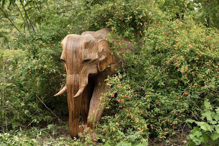 One of several wooden elephant sculptures conceptualized for the