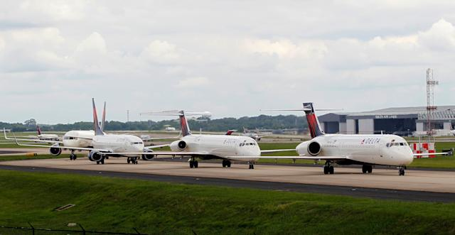 Delta airliners at Hartsfield Jackson Atlanta International Airport in Georgia on Aug. 8, 2016.
