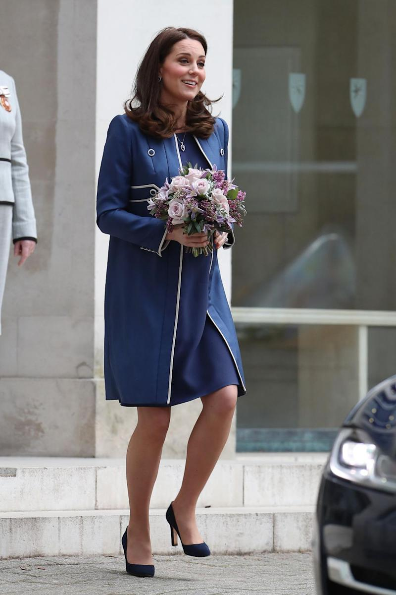 The Duchess of Cambridge looked incredible as she arrived at a hospital in this blue Jenny Packham coat. Photo: Getty Images