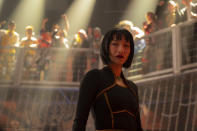 """This image released by Marvel Studios shows Meng'er Zhang in a scene from """"Shang-Chi and the Legend of the Ten Rings."""" (Jasin Boland/Marvel Studios via AP)"""