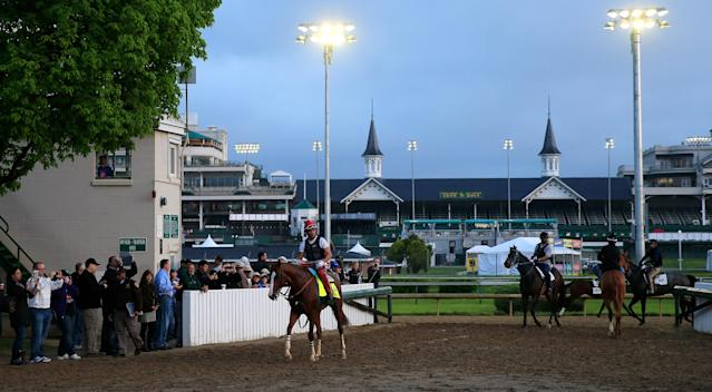 LOUISVILLE, KY - APRIL 30: California Chrome ridden by William Delgado walks off the track following a morning exercise session in preparation for the 140th Kentucky Derby at Churchill Downs on April 30, 2014 in Louisville, Kentucky. (Photo by Rob Carr/Getty Images)