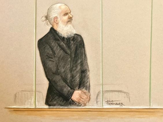 Artist's impression of Julian Assange appearing at Westminster Magistrates Court on Thursday (Julia Quenzler/SWNS)
