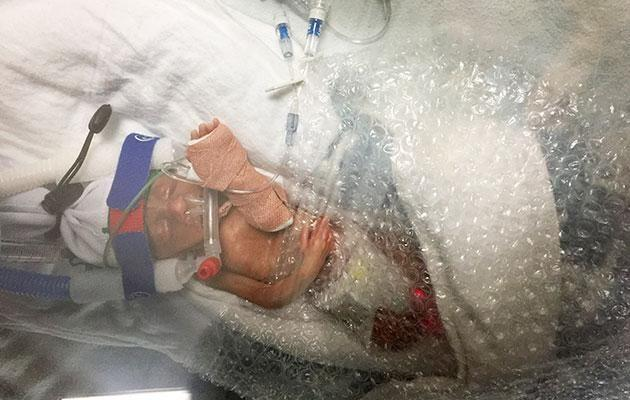 Doctors wrapped Jenson in bubble wrap to save his life. Photo: Caters News