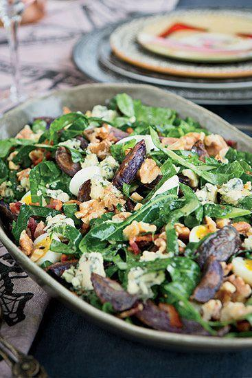 """<p>Collard greens and kale come together for a nutrient-rich salad that works as a weeknight dinner or side dish. </p><p><strong><em>Get the recipe at <a href=""""https://www.delish.com/cooking/recipe-ideas/recipes/a22054/collard-greens-blue-potato-bacon-salad-recipe-fw0414/"""" rel=""""nofollow noopener"""" target=""""_blank"""" data-ylk=""""slk:Delish"""" class=""""link rapid-noclick-resp"""">Delish</a>.</em></strong></p>"""