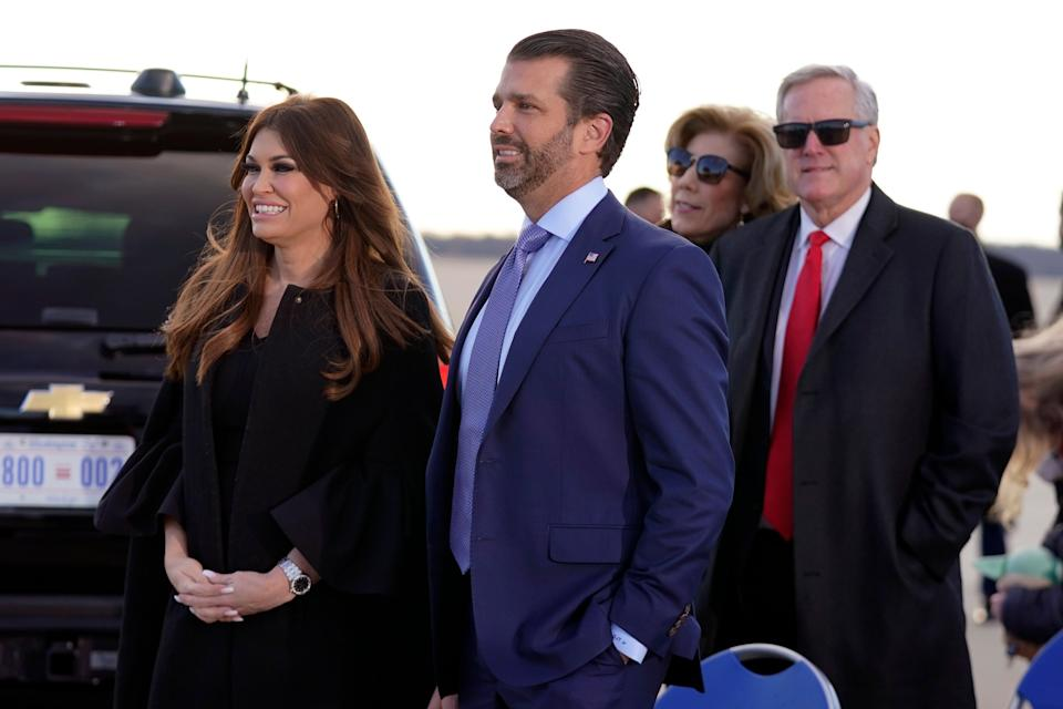 <p>Donald Trump Jr and his girlfriend, Kimberly Guilfoyle</p> (AP)