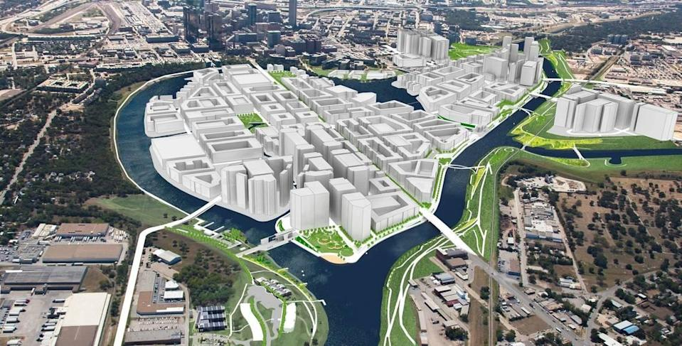 This 2018 file photo shows an artist rendering of Panther Island, looking south from Fort Worth's North Side.
