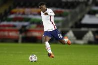 United States' Yunus Musah controls the ball during the international friendly soccer match between Wales and USA at Liberty stadium in Swansea, Wales, Thursday, Nov. 12, 2020. (AP Photo/Kirsty Wigglesworth)