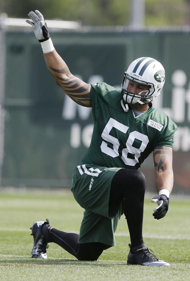 New York Jets linebacker Jason Babin warms up at practice during NFL football training camp Friday, July 25, 2014, in Cortland, N.Y. (AP Photo)