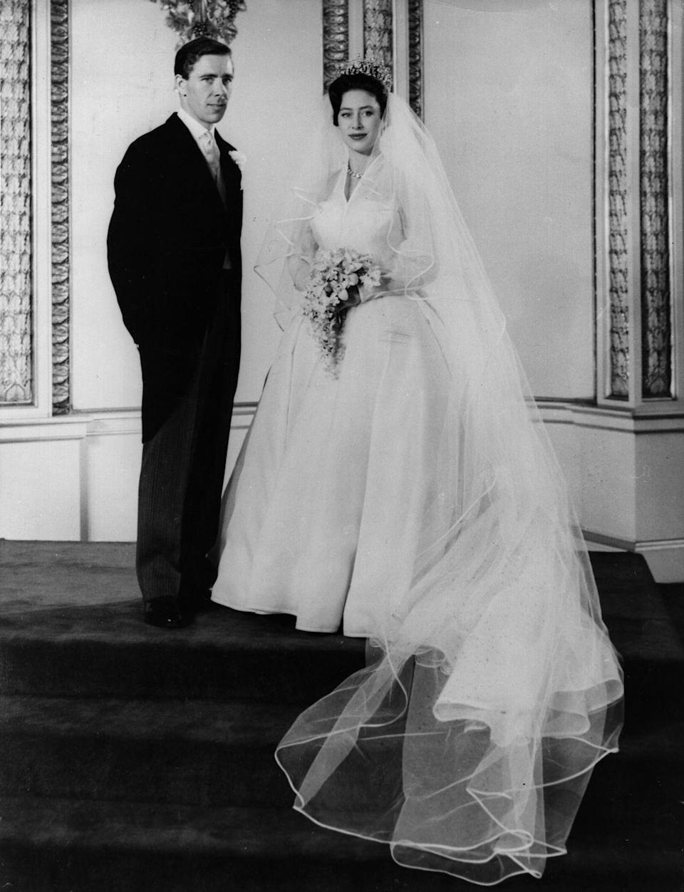 "<p>On May 6, 1960, Princess Margaret and Anthony Armstrong-Jones tied the knot in the first-ever televised royal wedding. The two met at a supper party in 1958 and kept their relationship a secret, according to <a href=""https://www.westminster-abbey.org/abbey-commemorations/royals/princess-margaret-daughter-of-george-vi"" rel=""nofollow noopener"" target=""_blank"" data-ylk=""slk:Westminster Abbey"" class=""link rapid-noclick-resp"">Westminster Abbey</a>.</p>"