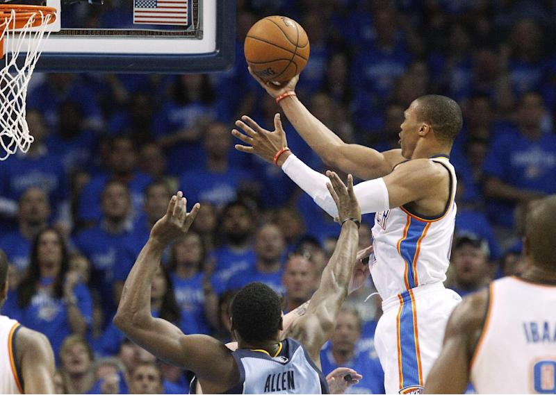 Oklahoma City Thunder guard Russell Westbrook (0) shoots in front of Memphis Grizzlies guard Tony Allen (9) in the second quarter of Game 2 of an opening-round NBA basketball playoff series in Oklahoma City, Monday, April 21, 2014. (AP Photo/Sue Ogrocki)