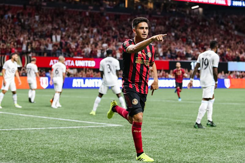 "ATLANTA, GA - AUGUST 27: Gonzalo ""Pity"" Martínez #10 of Atlanta United celebrates his goal scored during the first half of the U.S. Open Cup Final against Minnesota United FC at Mercedes-Benz Stadium on August 27, 2019 in Atlanta, Georgia. (Photo by Carmen Mandato/Getty Images)"