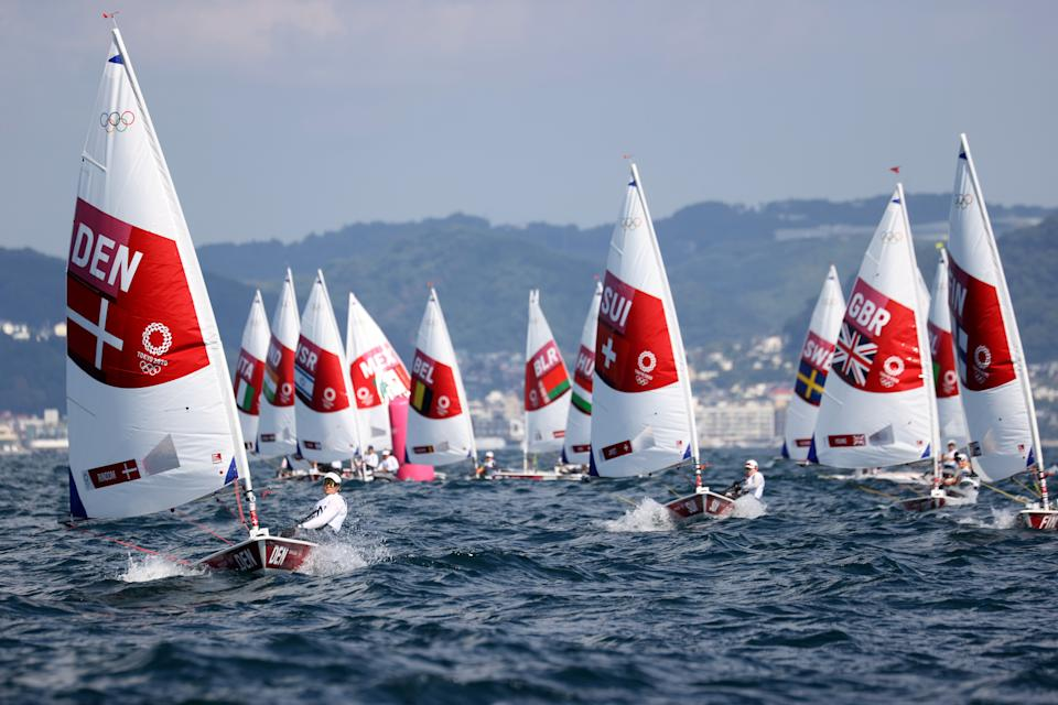 <p>FUJISAWA, JAPAN - JULY 25: Competition gets underway in the Women's Laser Radial class on day two of the Tokyo 2020 Olympic Games at Enoshima Yacht Harbour on July 25, 2021 in Fujisawa, Kanagawa, Japan. (Photo by Phil Walter/Getty Images)</p>