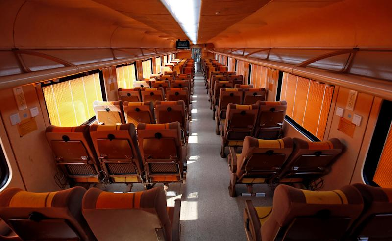 The interior of a coach of India's first private train Tejas Express is pictured during a media tour at a railway yard in Ahmedabad, India, January 16, 2020. REUTERS/Amit Dave