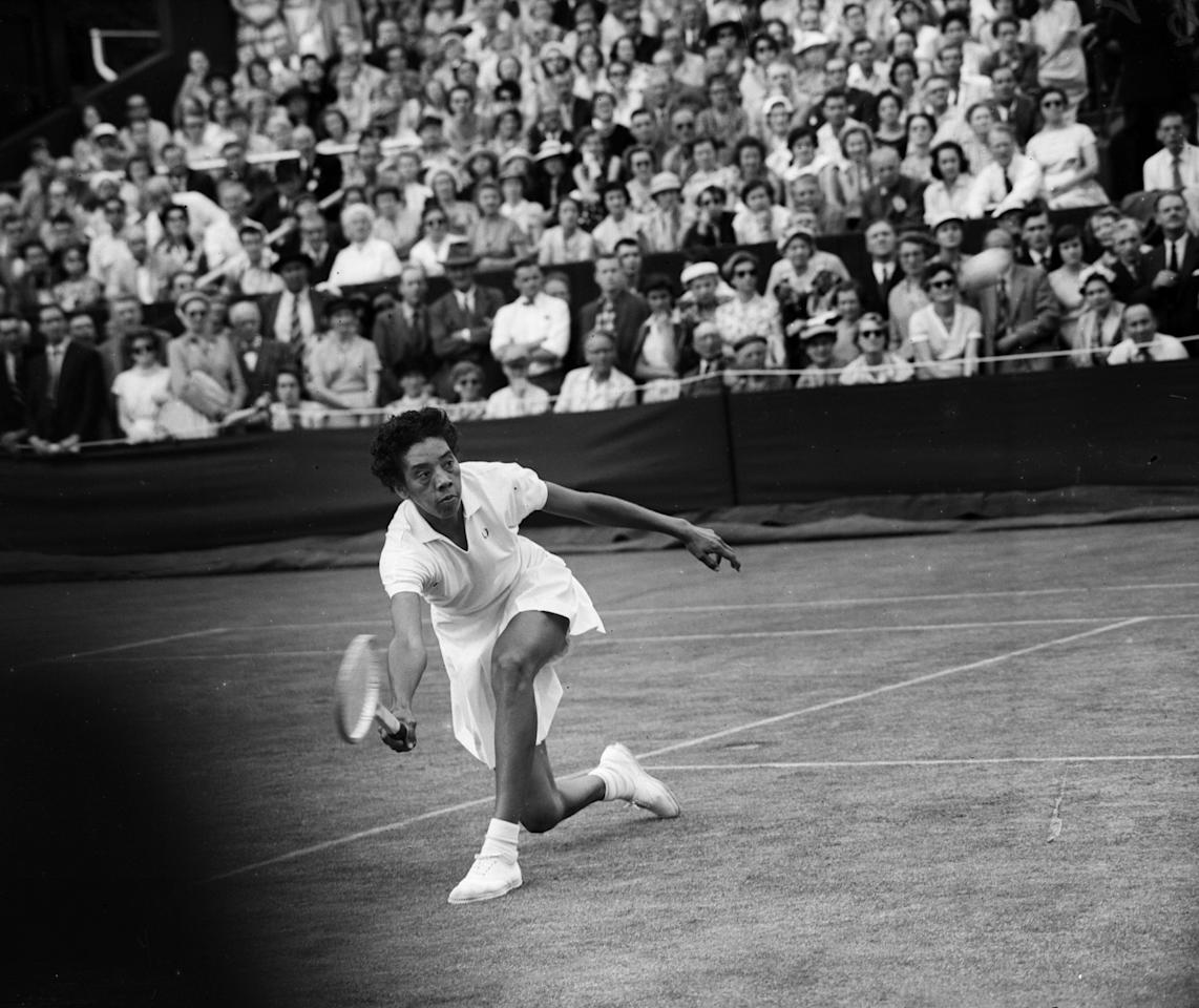 <p>1950 – ALTHEA GIBSON – SPORTS – First African-American woman to compete on the world tennis tour and in 1956 she was the first African-American woman Wimbleton champion and first to win a Grand Slam event. (French Open). — American tennis player Althea Gibson, 1956. The first black player to gain prominence in the game, at Wimbledon. (Central Press/Getty Images) </p>