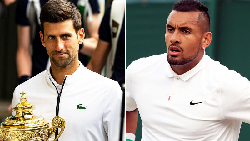 Novak Djokovic has taken a sly dig at Nick Kyrgios, re-igniting their ugly feud. Image: Getty
